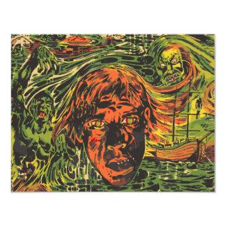 Vintage Halloween Zombies, Grafitti Street Art Card