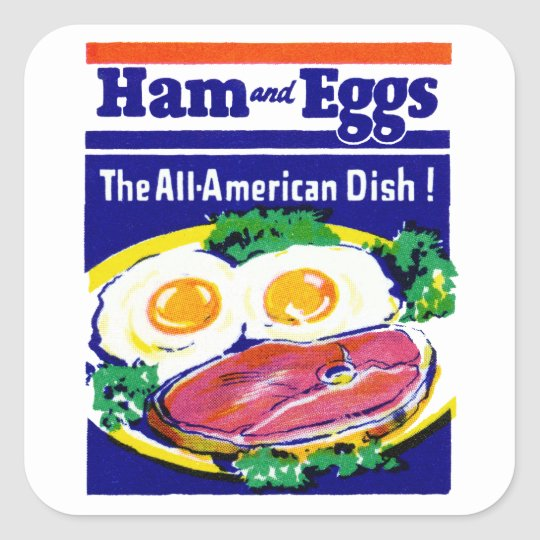 Vintage Ham and Eggs Square Sticker