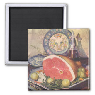 Vintage Ham Dinner with Green Beans and Potatoes 2 Inch Square Magnet