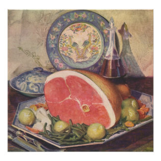Vintage Ham Dinner with Green Beans and Potatoes Poster