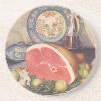 Vintage Ham Dinner with Green Beans and Potatoes Sandstone Coaster