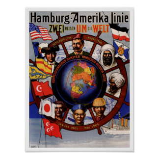 Vintage Hamburg America line around the world 1905 Poster