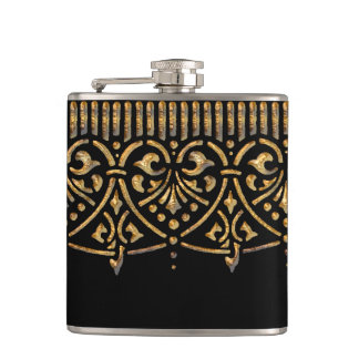 Vintage Hammered Gold on Black Flask