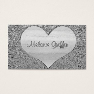 Professional Business Vintage Hammered Silver Metallic Business Card
