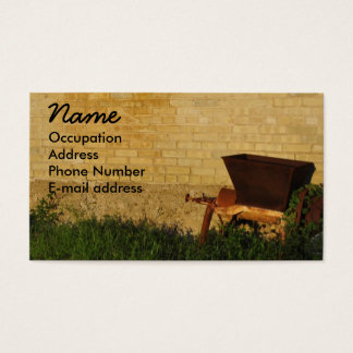 Vintage Hand Cart against a Country Brick Wall Business Card