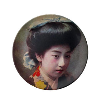 Vintage Hand Colored Japanese Geisha Old Japan Plate
