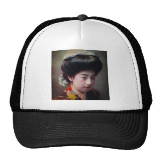 Vintage Hand Colored Japanese Geisha Old Japan Trucker Hat