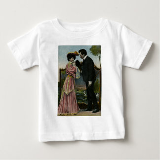 Vintage Hand Colored Postcard - The Lovers Baby T-Shirt