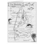 Vintage Hand-Drawn Bimini Islands Map Greeting Card