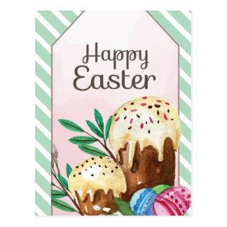 Vintage Hand drawn Easter Cakes on white stripes Postcard
