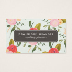 Vintage Hand Drawn Flowers Business Card at Zazzle
