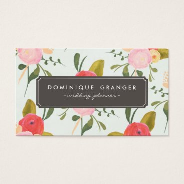 Professional Business Vintage Hand Drawn Flowers Business Card