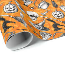 Vintage hand drawn halloween pattern wrapping paper