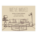 """Vintage Hand Drawn We've Moved Moving Announcement Postcard  (Visit shop for more moving announcements. Type """"moving"""" in the Searchbox)"""
