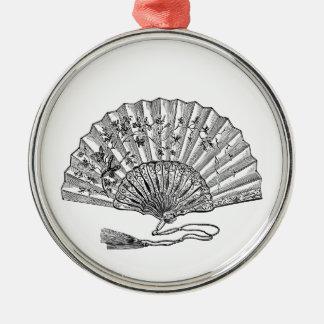 Vintage Hand Fan Metal Ornament