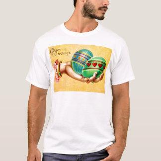 Vintage Hand Holding Easter Eggs Easter Card T-Shirt
