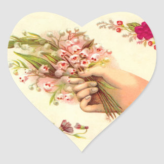 Vintage Hand of Love Offering Lilies of the Valley Heart Sticker