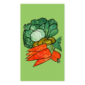 Vintage Hand-Painted Carrots, Lettuce & Potatoes Business Card