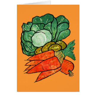 Vintage Hand-Painted Carrots, Lettuce & Potatoes Card