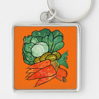 Vintage Hand-Painted Carrots, Lettuce & Potatoes Keychain