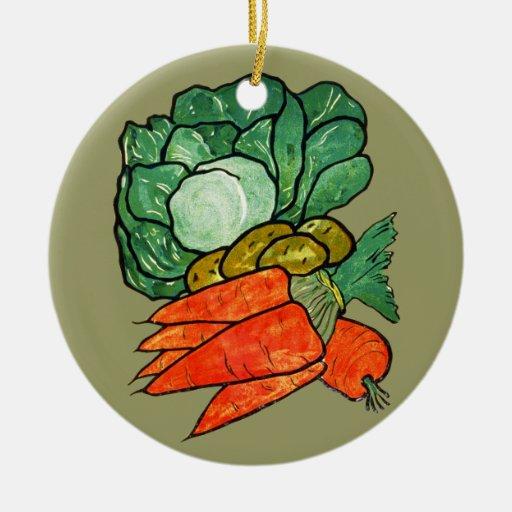 Vintage Hand-Painted Carrots, Lettuce & Potatoes Christmas Ornaments
