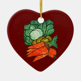 Vintage Hand-Painted Carrots, Lettuce & Potatoes Double-Sided Heart Ceramic Christmas Ornament