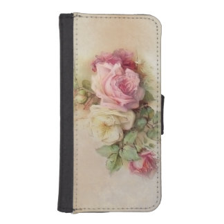 Vintage Hand Painted Roses iPhone SE/5/5s Wallet Case