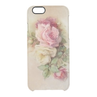 Vintage Hand Painted Style Roses Clear iPhone 6/6S Case