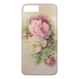 Vintage Hand Painted White and Pink Roses iPhone 7 Plus Case