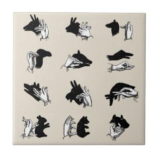 Vintage Hand Puppet Shadow Games Ceramic Tile