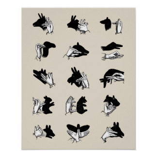 Vintage Hand Puppet Shadow Games Posters
