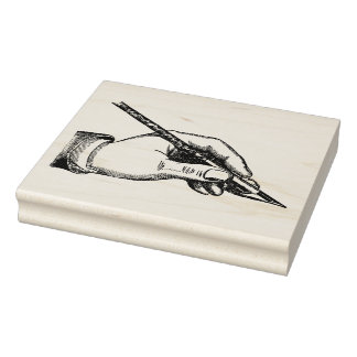 Vintage Hand Writing With Pen Rubber Art Stamp