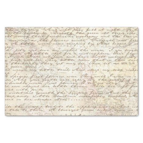 Vintage Hand Written Letter Script Map Decoupage Tissue Paper