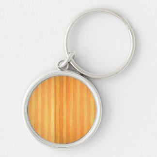 Vintage Handmade Golden Stripes - color match Silver-Colored Round Keychain