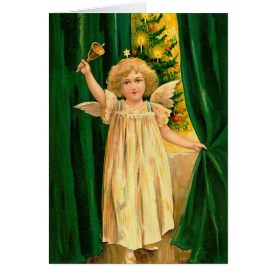 Vintage Handpainted Christmas Angel Card