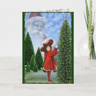 Vintage Handpainted Girl in Red Christmas Card