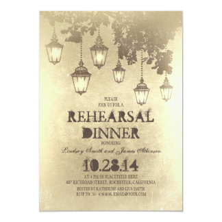 vintage hanging lamp lights rehearsal dinner card