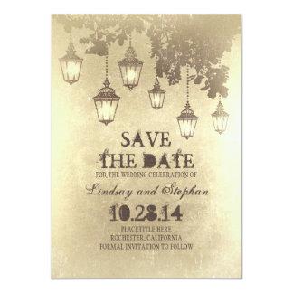 Vintage hanging lamp lights save the date cards