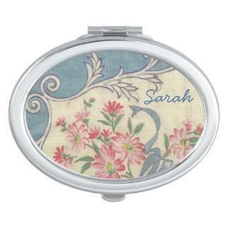 Vintage Hankie Compact Makeup Mirror