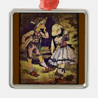 Vintage Hansel and Gretel See the Cottage Metal Ornament