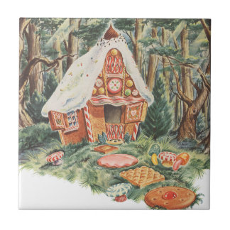 Vintage Hansel y Gretel; La casa de la bruja del c Teja Ceramica