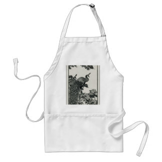 Vintage Hapiness Couple Peacocks and Peonies Adult Apron