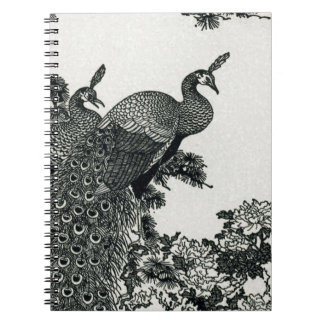 Vintage Hapiness Couple Peacocks and Peonies Notebook