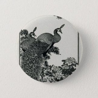 Vintage Hapiness Couple Peacocks and Peonies Pinback Button