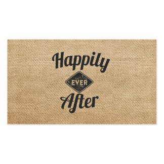 Vintage Happily Ever After Burlap Business Card Templates