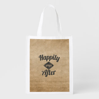 Vintage Happily Ever After Burlap Reusable Grocery Bag