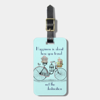 Vintage Happiness is about how you travel poster Bag Tag
