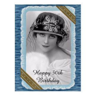 Vintage Happy 50th Birthday Postcard