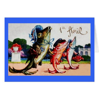 Vintage Happy April Fools Day Fish Stationery Note Card
