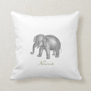 Vintage Happy Baby Elephant and Elephant Pattern Throw Pillow at Zazzle